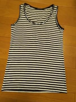 INGNI/Mサイズ/首回り&袖口キラキラ ボーダータンク/黒×白