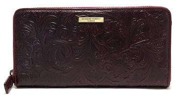 正規未使用キャサリンハムネット長財布型押しレザーボルド