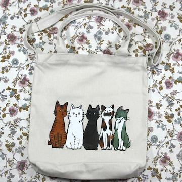 ◆猫大好き◆送料無料 猫柄トートバッグ 軽量 猫5匹 BA01