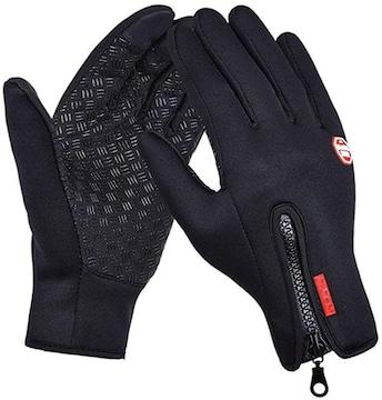 防寒 防風 防雨 バイク 自転車 タッチパネル グローブ 手袋 M