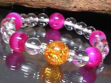 琥珀・ピンクアゲード・水晶数珠