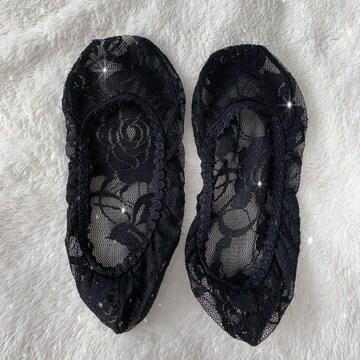●総レースブラックのフラットソックス・フットカバー・靴下●