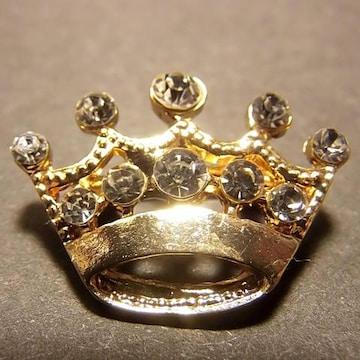 送料無料 王冠 クラウン ブローチ ラペルピン ピンバッジ ゴールド色