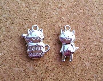 ハッピー猫チャーム2個ロジウム