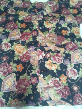 ☆新柄黒×牡丹桜短冊扇子和柄ダボシャツ2L