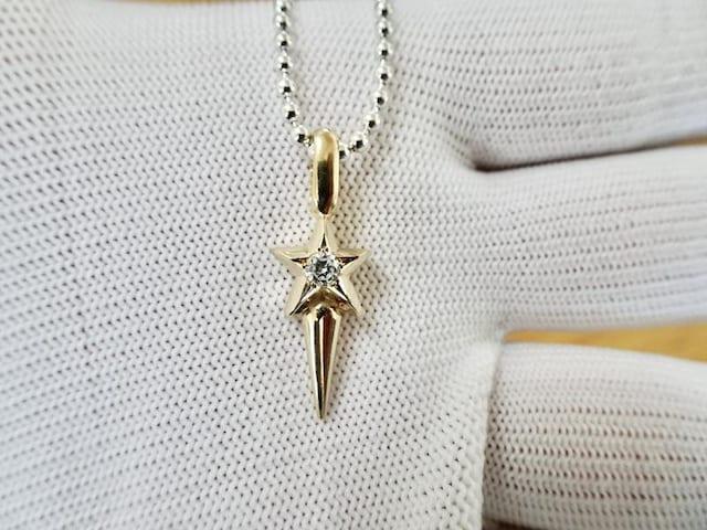 仁尾彫金『一つ星ダイヤゴールドスタースパイク』206 < 女性アクセサリー/時計の