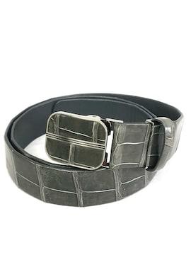正規ノンブランド鰐革ベルト灰色グレー100cmクロコレサ