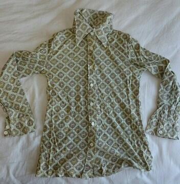鹿柄 デッドストック 1970年代シャツ ビンテージ 昭和レトロ