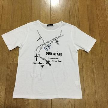 半袖英文字柄ジルコニアストーン付きTシャツ