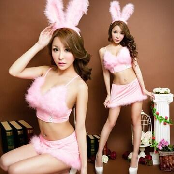 ピンク色 スカート バニーガール服 コスプレ衣装 ハロウィン
