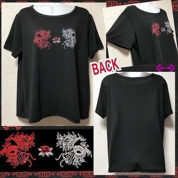 【新品】ドラゴン&薔薇プリントTシャツ