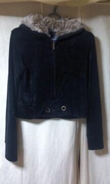 ジャケットコート コーディロイ風 ショート丈 ファーフード