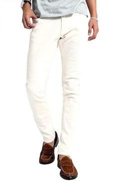 チノパン ストレッチ スリム スキニー L ホワイト