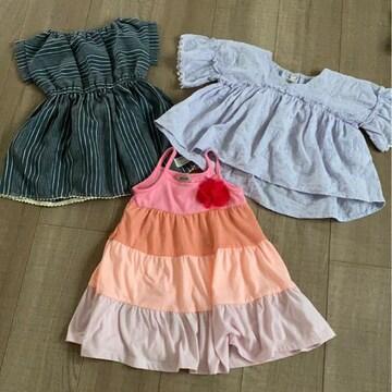 女の子まとめ売り95〜100ワンピースブラウス