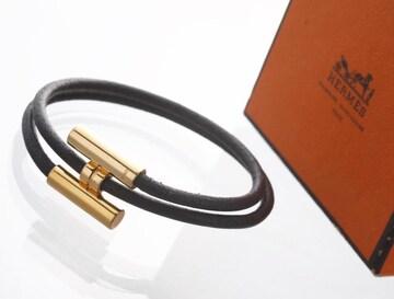 K0619M エルメス トゥルニ 本革 ゴールド金具 ブレスレット