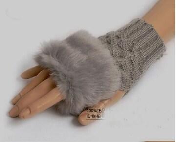 ★大人気!!★指なしショートファーグローブ★グレー