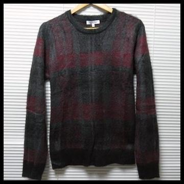 SALEふわふわチェック柄ジャガードニットセーター/WINE/M