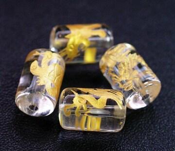 天然 水晶四神 金彫 手彫りビーズ 12mm×8mm 四神1セット