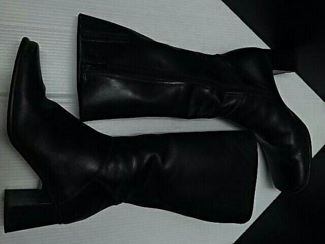 最値定3万!ルジェリRUGGERI高級本革レザーサイドジップブーツ黒 < 女性ファッションの