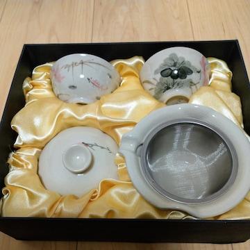 台湾茶器セット�A 中国茶 未使用 陶器の街 鶯歌で購入 草花