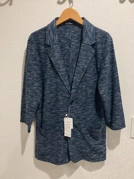 Skkone Collection メンズ ジャケット 薄手 カジュアル 7部丈 ネイビー 紺
