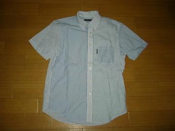 BLUE BLUEマルチストライプボーダー半袖シャツ2HRMハリラン