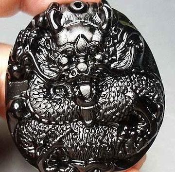 迫力満点風水青龍天然石ブラックオブシディアン精工彫り大