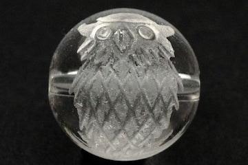 ☆ふくろう(梟)の手彫り10mm水晶ビーズ@1個