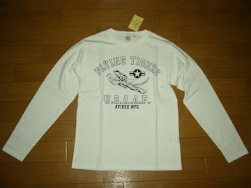新品 アビレックス AVIREX ロンTシャツ M白 カットソー タイガー