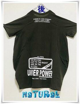 新作★大きいサイズ〜5L UNDER POWER バックロゴBigTワンピ/コクーン*カーキ