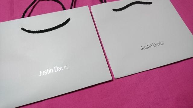 JustinDavis白王冠ロゴショッパーエコバッグショップ袋紙製ジャスティンデイビス < ブランドの