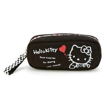 【キティ】可愛いコスメ.デジカメ.筆記具.小物!市松模様ジップBOXポーチ