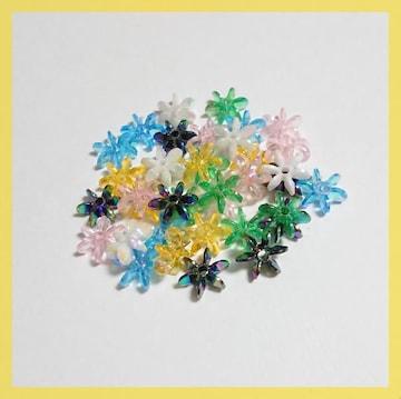 フラワー型ビーズ☆アクリル製☆6色ミックス☆35粒入り☆10mm