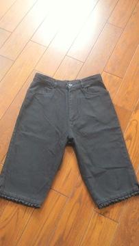 【即決】BLACK&裾フリル◆夏コットンハーフパンツ◆W64