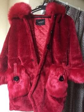 赤ファーコートポケットファー