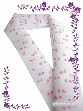 【和の志】夏物(絽)カジュアル半襟◇白(ピンク系)秋草柄◇22