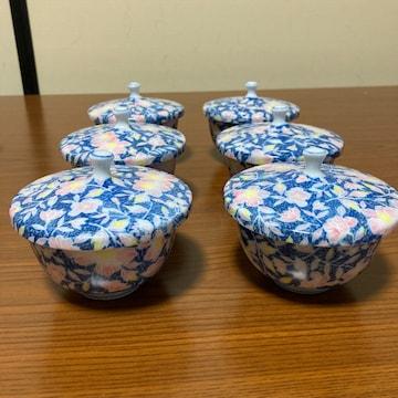未使用 日本陶器 松山作 上品なピンク花柄 蓋付き茶碗 6客