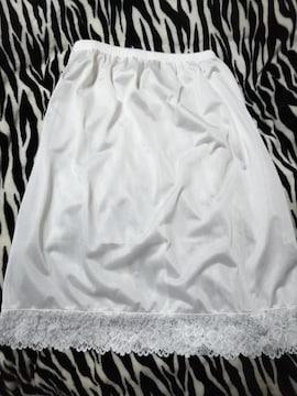 新品 超激カワホワイト裾レースペチコート(///ω///)♪LL