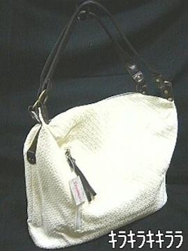 【DIVABBRACCI】《New》編み込み風★ショルダーバッグ<ホワイト>