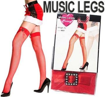 9a6)クリスマスMUSICLEGSリボン付網タイツ赤レッドサンタコスプレ衣装仮装ダンスダンサー