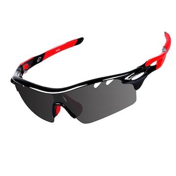 スポーツサングラス 偏光 ブラック&レッド