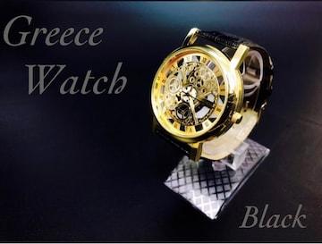 腕時計 メンズ ステンレス レザー 革 ベルト 時計 ブラック