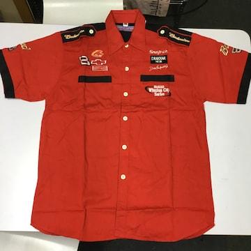 ワークシャツ XLサイズ 赤 バドワイザー Budweiser ピットシャツ