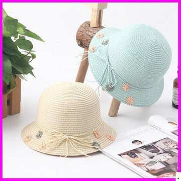 おすすめ春帽子☆ 草編み 2# M 日 愛い親子帽子 920