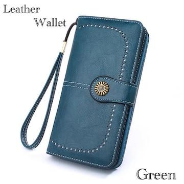 長財布 財布 レザー  革 お札入れ 小銭入れ カード入れ グリーン