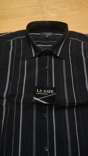 LA直輸入 LAGATEストライプ長袖シャツ黒グレーラインサイズ3XL→2XL〜XL位�I < 男性ファッションの