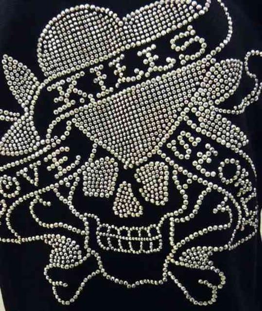 Ed Hardy ラブキルスタッズポロシャツ 黒 M 72kh01 < ブランドの