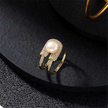 ☆サークル パール リング☆指輪 フリーサイズ