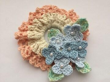 ハンドメイド シュシュ ブルーの爽やか紫陽花♪ ナチュラル お花