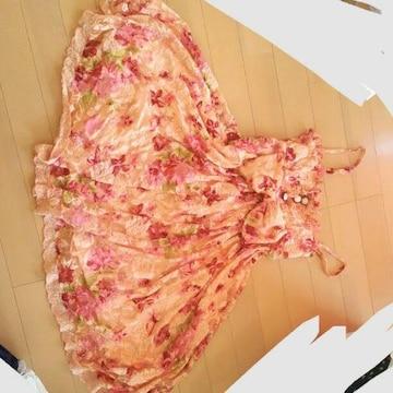 リズリサ花柄ワンピース刺繍フリル総レースバラピンク赤リボン